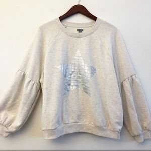AERIE Shimmering Star Bell Sleeve Sweatshirt Top